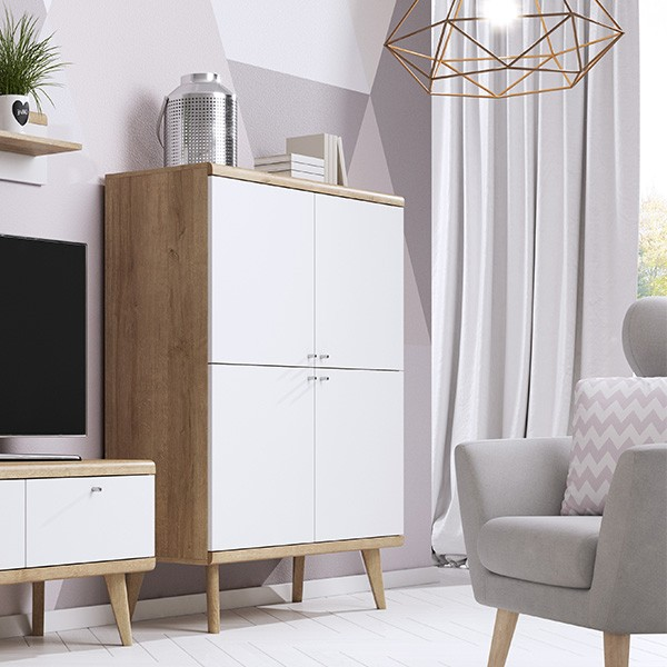 moderne skandinavische kommode sideboard 107 cm. Black Bedroom Furniture Sets. Home Design Ideas